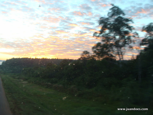 Sunrise from the bus going to Iguazú