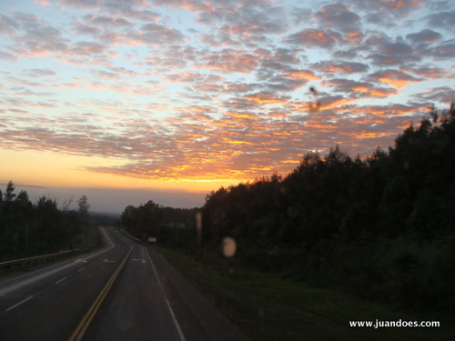Sunrise from the bus going to Iguazú and my favorite picture of the trip